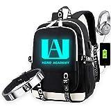 My Hero Academia Backpack Shoulder Bag with USB Charging Port & Gift Bracelet, Anime School Bookbag Laptop Backpack Daypack