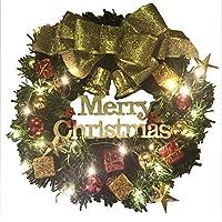 【LEDライト付き】 クリスマス リース 35cm 電池式LEDライトで綺麗に光る! ゴールド 飾り 装飾