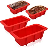 Walfos Mini Silicone Loaf Pan Set - 4 Pieces Non-Stick Silicone Bread Loaf Pan, Just PoP Out! Perfect for Bread, Cake, Browni