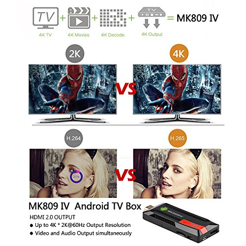 docooler Android 5.1.1 TVドングル ミニPC スマートメディアプレーヤーRK3229 Quad Core 2G /8G UHD 4K HDMI KODI / XBMC 3D H.265 WiFi AirPlay Miracast DLNA MK809 IV