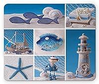 航海マウスパッドによる、海洋のテーマデザインオブジェクト魚の貝ヒトデ真珠灯台ヨット、標準サイズの長方形滑り止めラバーマウスパッド、ブルーホワイト