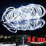JX-SHOPPU LED100個搭載 ソーラーLEDチューブ 夜になると自動点灯ガーデンイルミネーションライト10M (ホワイト)