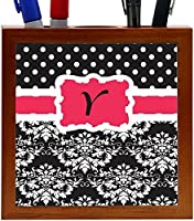 Rikki Knight Rikki Knight Initial Y Pink Black Damask Dots Design 5-Inch Tile Wooden Tile Pen Holder (RK-PH44566) [並行輸入品]