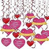 Trooer 20個 ハンギングハート 渦巻き バレンタインデー デコレーション パーティー記念品 ホイルハンギング ハート 渦巻 デコレーション バレンタイン ウェディングパーティー用品 SKU-004-1