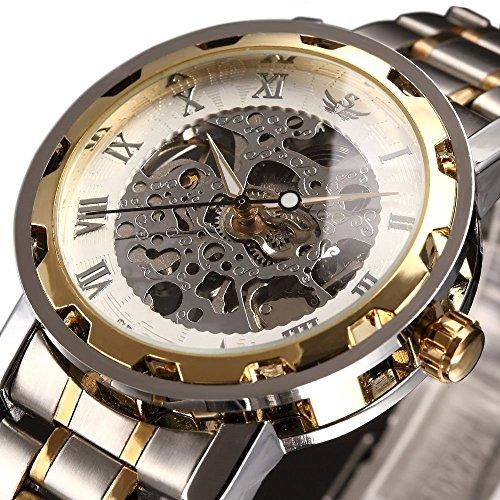 時計、機械式時計 メンズウォッチクラシックスタイルのメカニカルウォッチスケルトンステンレススチールタイムレスデザインメカニカルスチームパンク (ゴールド)
