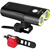 Gaciron Bike Light Front 1600 Lumens Ultra Bright, Bike Light Set with Rear Bicycle Light USB Rechargeable and IPX6 Waterproo