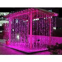 【水中にも適用】AGPtEK 3M×3M/300 LEDカーテンライト USB給電式 8 点滅パターン結婚式、学園祭、誕生会、ハロウィーン、クリスマスパーティー、バレンタインデー、記念日などイベント大活躍 防水国際基準防水IP67 LEDイルミネーションライト コントローラ付き 日本語取扱説明書 (ピンク)