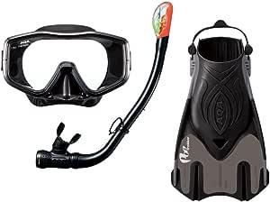 AQA(エーキューエー) スノーケリング3点セット ブラック KZ-9209