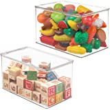 mDesign Kids/Baby Toy Storage Box for Blocks Puzzles Dolls - Pack of 2 Clear