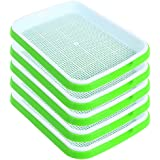 SHEING Seed Sprouter Tray 5 Pack, BPA Free Nursery Tray Seed Germination Tray Healthy Wheatgrass Seeds Grower & Storage Trays