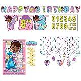 Doc McStuffins装飾とパーティーゲーム供給パックIncluding Hanging Swirl Decorations、、バナー、パーティーゲーム