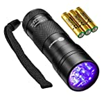 TaoTronics Black Light, UV Blacklight Flashlights, 12 LEDs 395nm, 3 Free AAA Batteries, Detector for Dry Pets Urine...