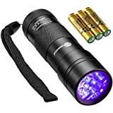 TaoTronics Black Light, UV Blacklight Flashlights, 12 LEDs 395nm, 3 Free AAA Batteries, Detector for Dry Pets Urine & Stains