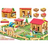 Toys of Wood Oxford Shinington Farm – Wooden Log Farm House Wooden Construction Toys for 3 Year olds