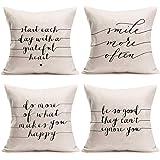 Fukeen Dragonfly Throw Pillow Cover Rural Style for Home Office Sofa Decor Pillow Cases Cotton Linen 4 Pack Standard Pillowca