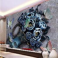 Wuyyii カスタム壁紙任意のサイズ3Dフラワーバタフライレリーフの背景3D背景装飾的な絵画-150X120Cm