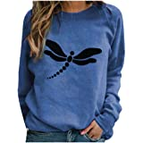 Fenebort Store-AU Womens Dragonfly Print Casual Sweatshirts Long Sleeve Tunicss Shirts Loose Blouse Pullover Tunic Tops