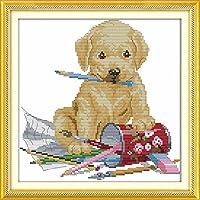 を犬絵画漫画クロスステッチキット子供カウント白11ctプリント刺繍diy手作り裁縫セット壁の家インテリア-11CT picture printe