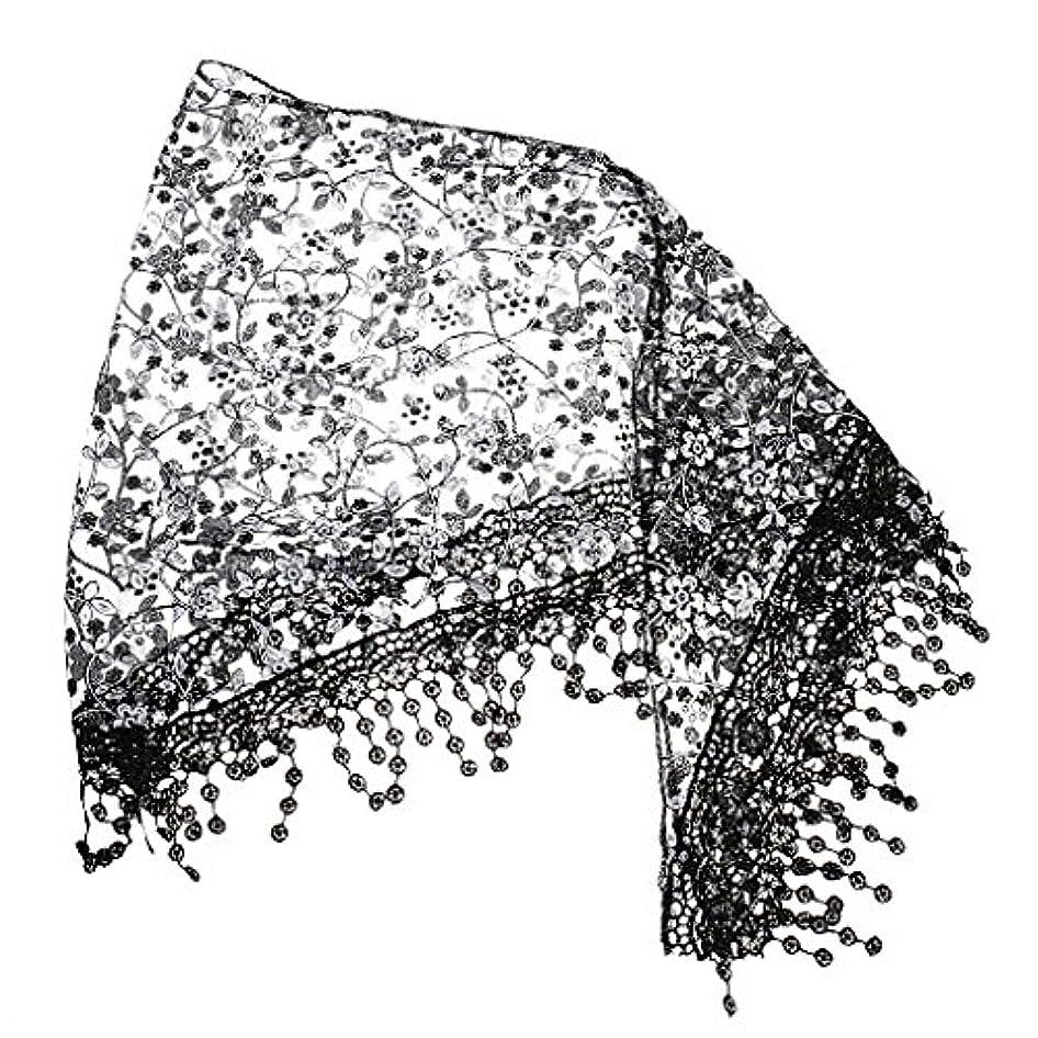 熱心な集中貸す【ノーブランド品】女性 中空 タッセル レース 花柄 スカーフ マフラー ショール ラップ ネックスカーフ ギフト 全5色 - ブラック