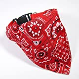 LAPHSODA(ラフソーダ) ペット 犬 ファッション バンダナ カラー ワンタッチ 首輪 ( 赤 Mサイズ )