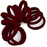 Cyndibands Soft and Stretchy Gentle Hold Seamless Elastic Fabric No-Metal Ponytail Holders - 12 Hair Ties Burgundy