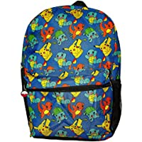 17in Pokemon Mulit Character All Over Print Canvas Backpack