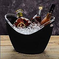 氷のバケツの明確なアクリル、8リットルのハンドル4つまでのワインかシャンパンのびんのために良いアイスバケツバー、カフェ、ビーチ、Bbq、中庭、ホテル、レストラン,Black,8000ml