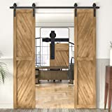 WINSOON Sliding Barn Wood Door Hardware Cabinet Closet Kit Antique Style for Double Doors Black Surface 6 Ft/72 2 Doors Track