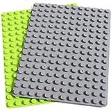 INIBUD 基礎板 ブロック プレート デュプロと互換性 16×12ポッチ 2枚セット (ライトグリーン1枚+グレー1枚)
