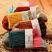 5 Pairs Japanese Thermal Women Socks Winter Warm Rich Wool Casual