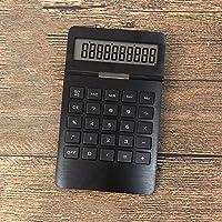 関数電卓 金属表面のソーラー電卓10桁デュアルパワー自動シャットダウンオフィス (Color : Black, Size : 18x11cm)