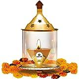 CRAFTSMAN Chimney Glass Akhand Diya 6.7 inch Decorative Brass Oil Lamp for Whole Night Diwali/Deepawali Decoration Tea Light