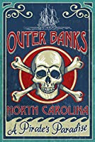 Outer Banks、ノースカロライナ州 – Skull And Crossbones Sign 24 x 36 Giclee Print LANT-48533-24x36