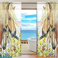 Ingbags寝室装飾リビングルームデコレーション馬パターン印刷チュールポリエステルドアウィンドウガーゼ/ 2つのパネルシアーカーテンドレープセット55x 78インチ、2のセット 55x78 inch