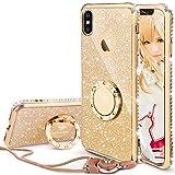 iPhone X ケース, iPhone XS ケース リング,かわいい リング付き おしゃれ ストラップ キラキラ ラインストーン ダイアモンド縁 スタンド機能 人気女性女子用 アイフォンxケース 耐衝撃 iPhone xs ケース (ゴールド)