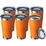 20 oz 6 Packs Wholesale in Bulk Insulated Stainless Steel Tumblers Reusable Coffee Travel Mugs with Lid Hot n Iced Cups, Doub