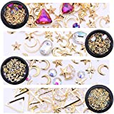NICOLE DIARY Gold Nail Studs Gems Sparkle Rhinestones Metal Rivets Charms Hollow Moon Star Shaped Artificial Pearls Triangle DIY 3D Nail Art Decoration(4 Boxes)