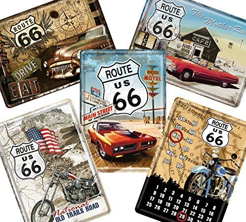 ルート66 Route 66 / ポストカード はがき 4枚 & 卓上 カレンダー 1個 (ブリキ製) セット