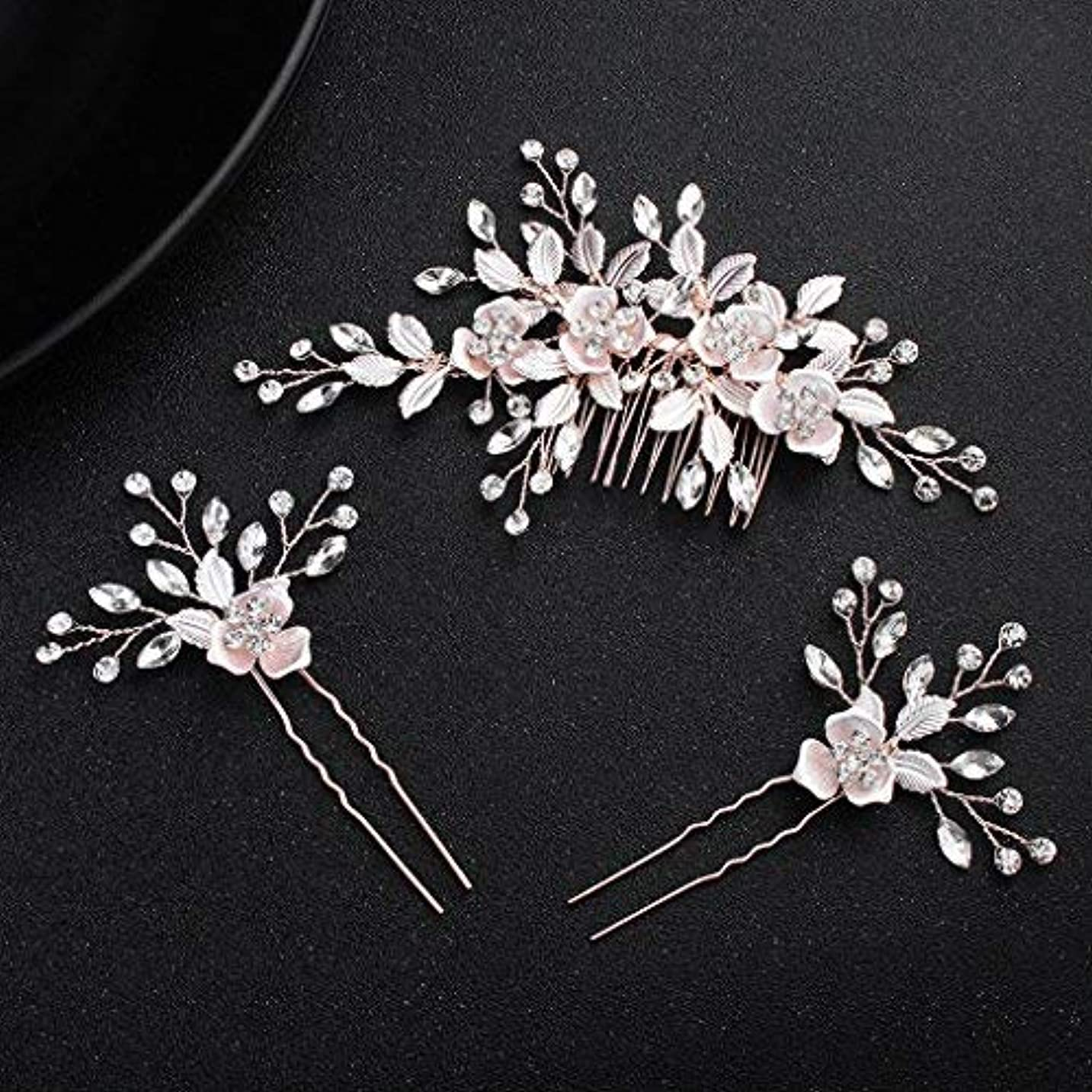 obqoo Crystal Flowers Style Colorful Leaves Metal Bridal Hair Comb with 2 pcs Pins Rose Gold [並行輸入品]