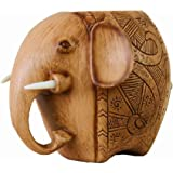 Z-Color ? Wood Carving Elephant Pencil Holder Fashion Creative Wooden Pen Holder For Office/School