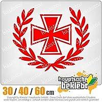KIWISTAR - Iron cross laurel wreath 15色 - ネオン+クロム! ステッカービニールオートバイ