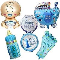6pcs/ロットLargeベビーシャワーエアバルーン1th誕生日パーティー装飾ブルー箔バルーンBaby Boy Happy誕生日ヘリウムボールGlobos