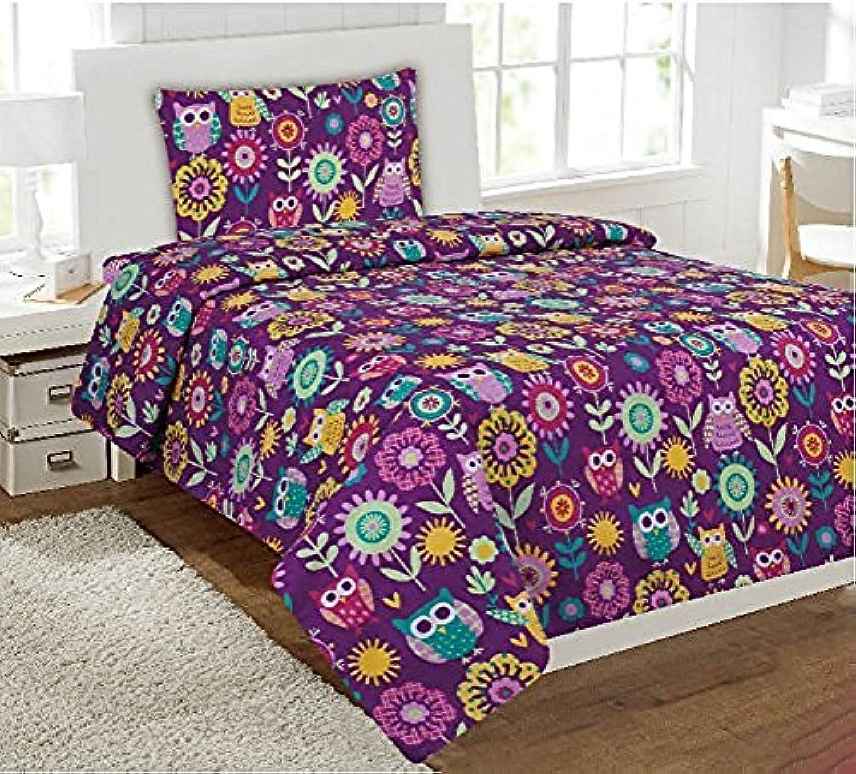 [ファンシーリネン]Fancy Linen Fancy Collection 4 Pc Kids/teens Purple Owl Flowers Design Luxury Sheet set Full size New [並行輸入品]
