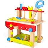 SainSmart Jr. Wooden Bench Wooden Workbench with Tools for Toddlers, Kids Creative Wooden Building Set Construction Toy for 3