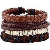 Popular European and American cowhide suit men's bracelet men's hand rope Vintage woven leather bracelet