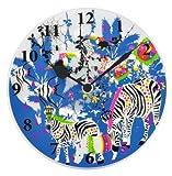 【Amazon.co.jp限定】Kayo Horaguchiコラボレーション グラスクロック 置き・掛時計(直径20cm) ブルー