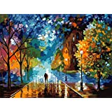 DIY Digital Canvas Oil Painting Gift for Adults Kids Paint by Number Kits Home Decorations- Lover In The street 16*20 inch