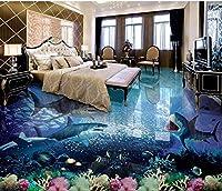 Lwcx 3dフローリングShark壁紙Water Proof 3d床3dウォールペーパーホームRollペイント床粘着用紙ロール FEAF572505