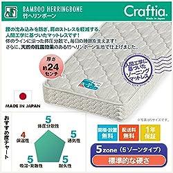 ポケットコイル ベッドマット セミシングル 竹ヘリンボーン