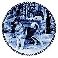 Norwegian Elkhound / Lekvenデザイン犬プレート19.5CM / 7.61インチMade in Denmark新しい証明書の原点とのプレート# 7319